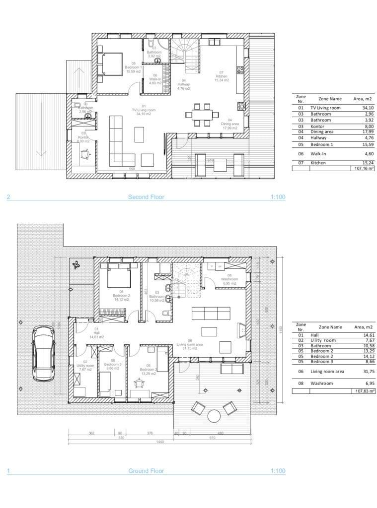 Vienbučio gyvenamajo namo planai.
