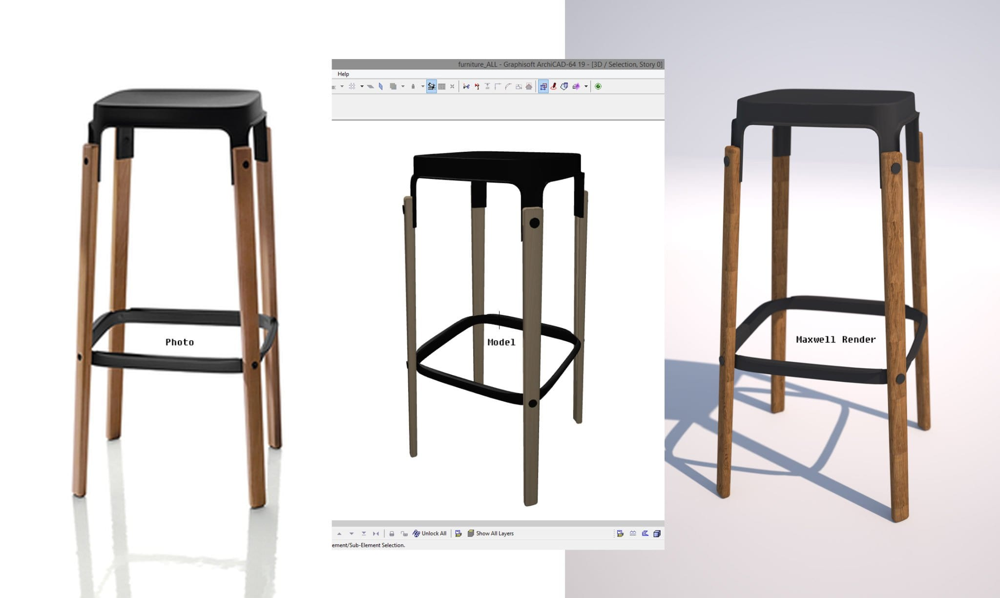 Steelwood-stool