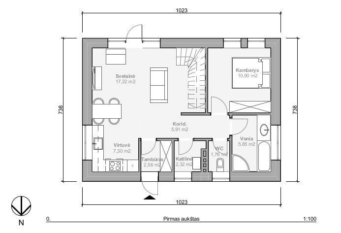 Nesudėtingo gyvenamojo namo pirmo aukšo planas.