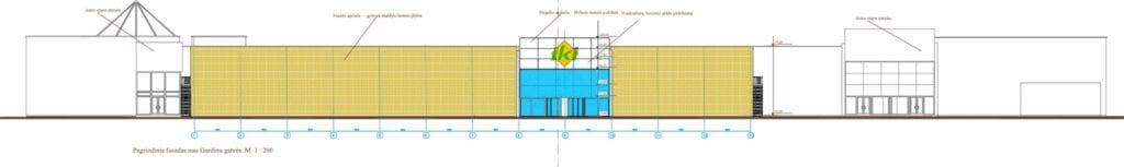 Prekybos paskirties pastato projekto pagrindinis fasadas.