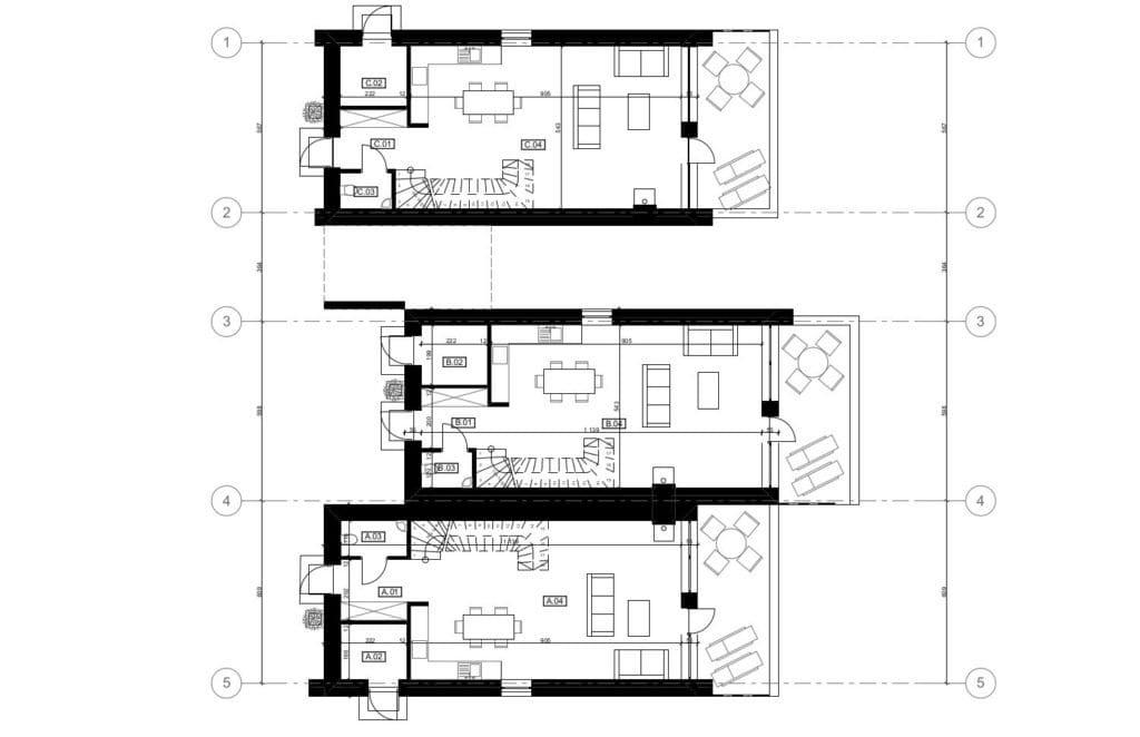 Vienbučio ir dvibučio namo pirmo aukšto planas.