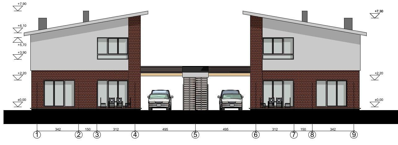 Vienbučio gyvenamojo namo fasadas