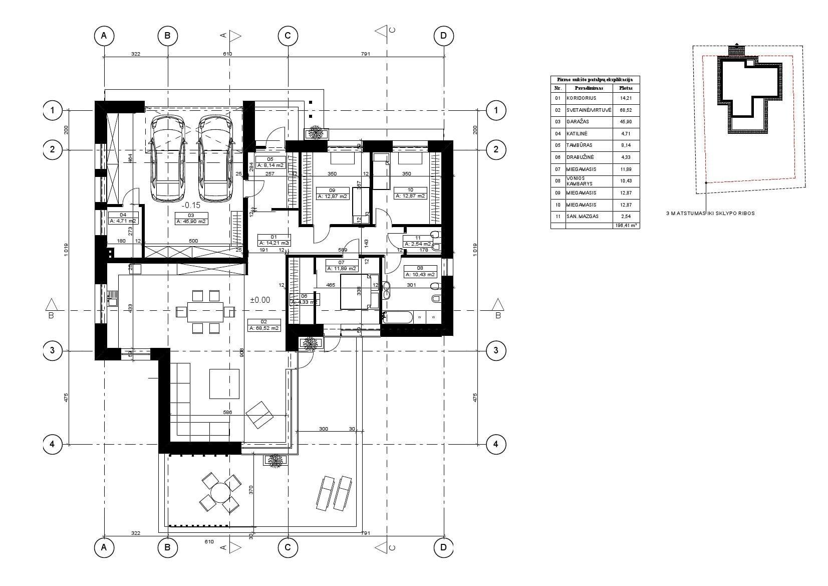 vieno aukšto gyvenamojo namo planas