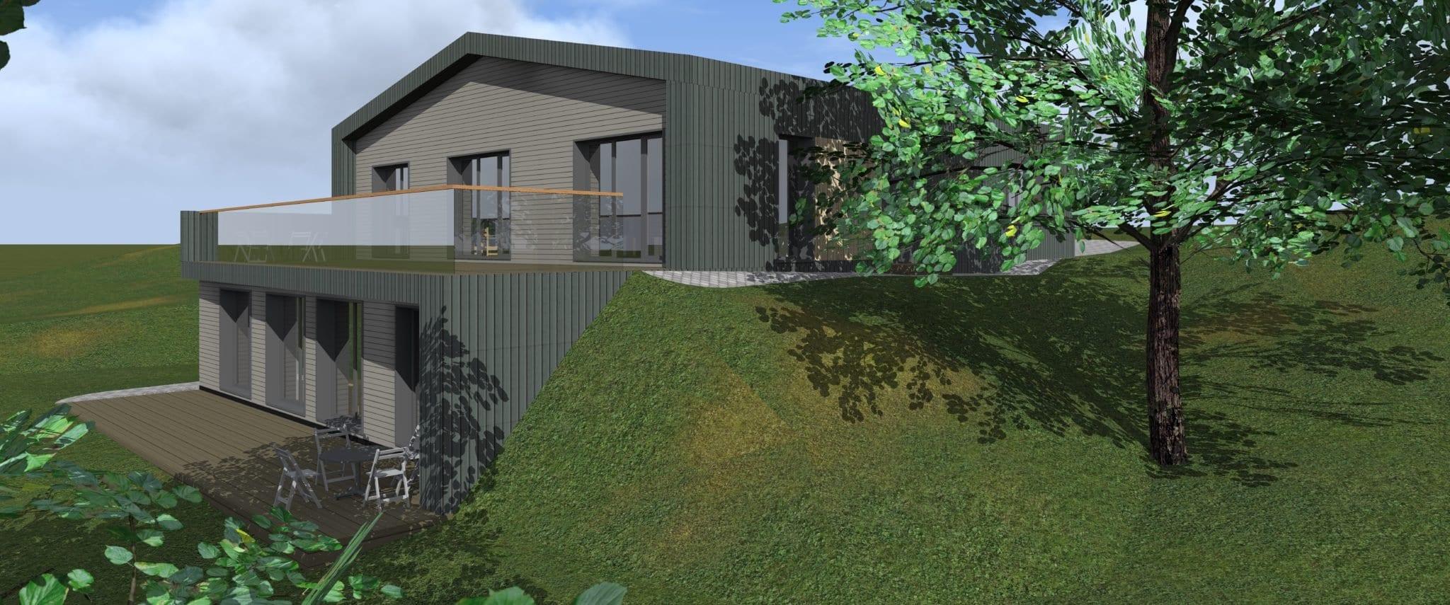Vienbučio gyvenamojo namo projektas fasadas
