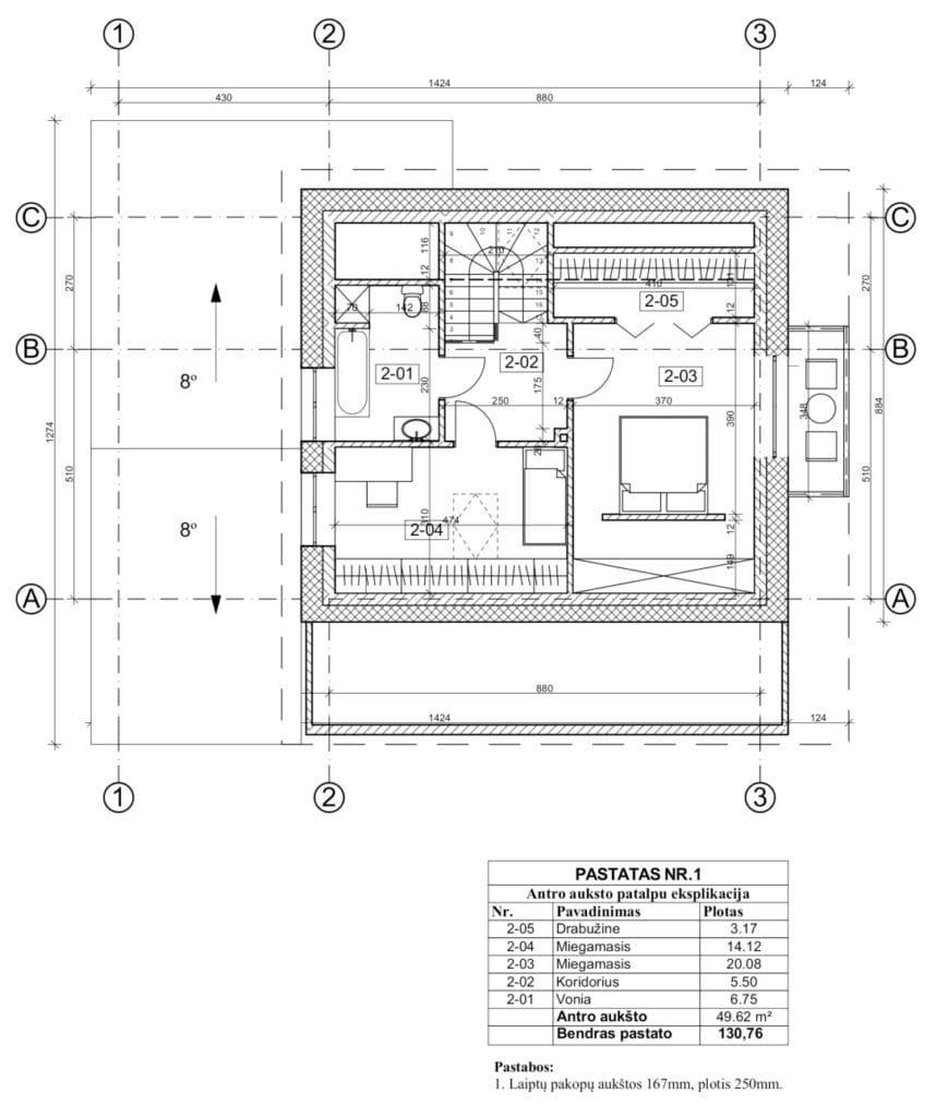 Dviejų aukštų namo projektas. Dvišlaitis stogas. Bendras plotas – 130,76 m². Gabaritai - 12,74m x 14,24 m². 3 miegamieji. Su stogine.