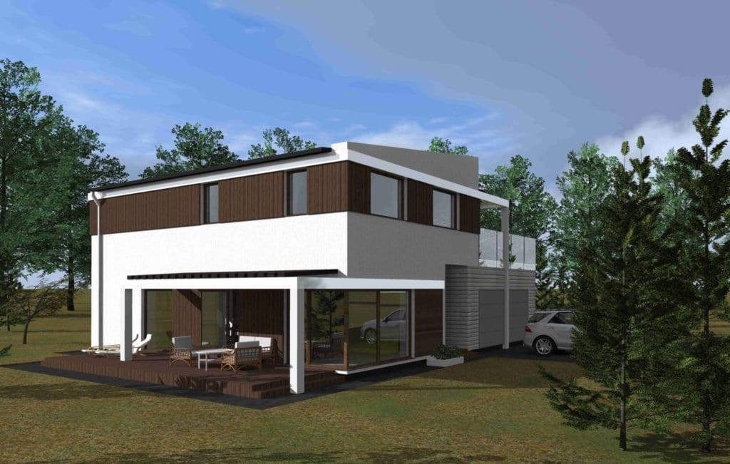 Moderniaus dviejų aukštų namo projektas.