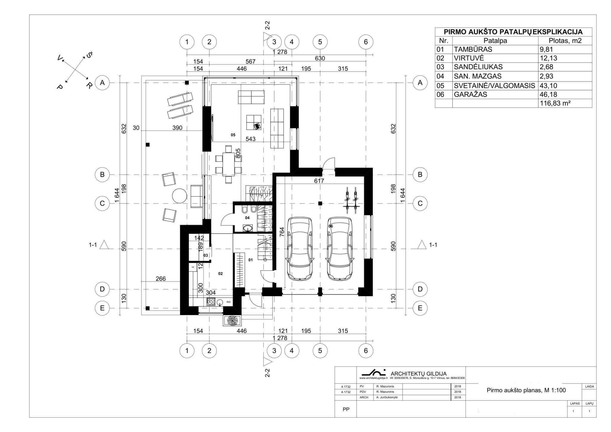 Vienbučio namo planai