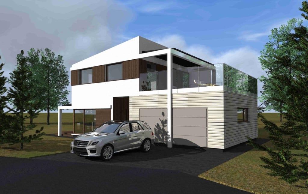Modernaus namo projektas su garažu.