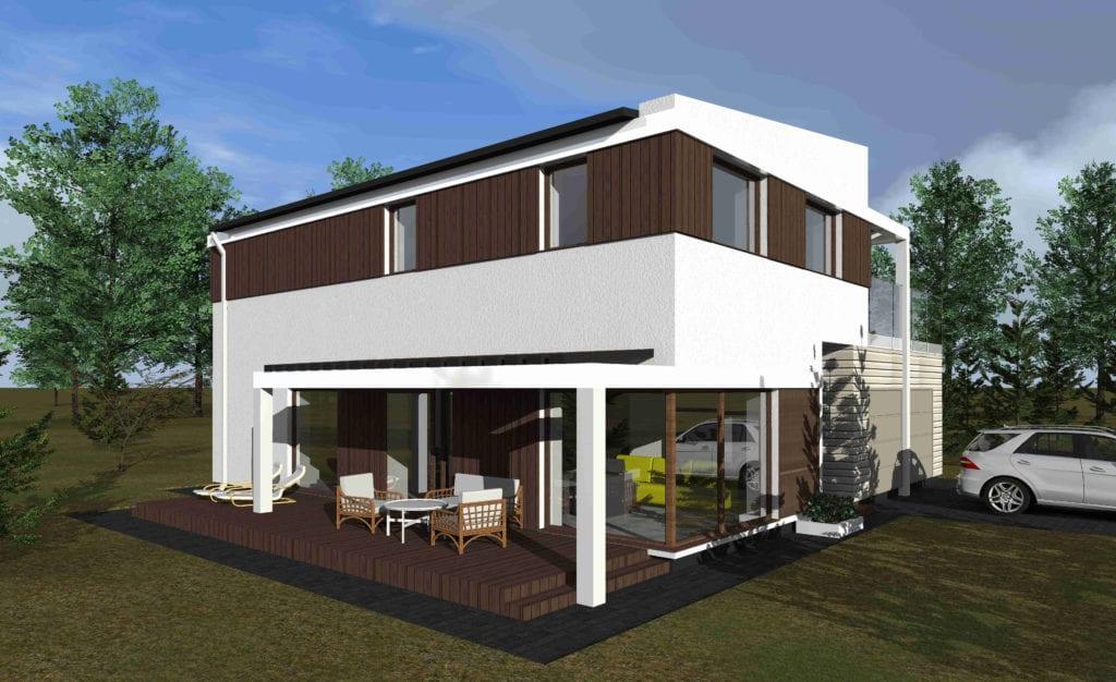 Modernus vienaukštis namo projetas. Kiemas.