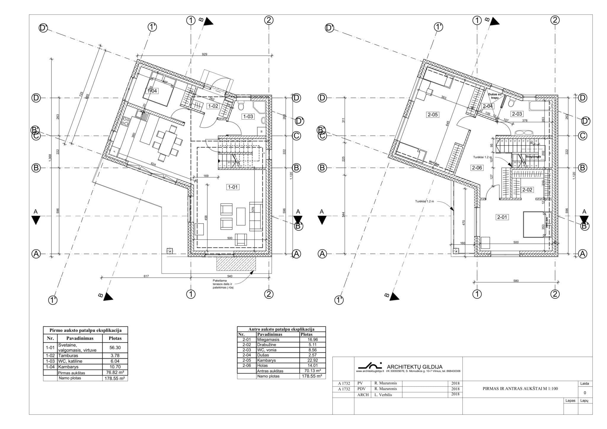 Vienbučio namo planas