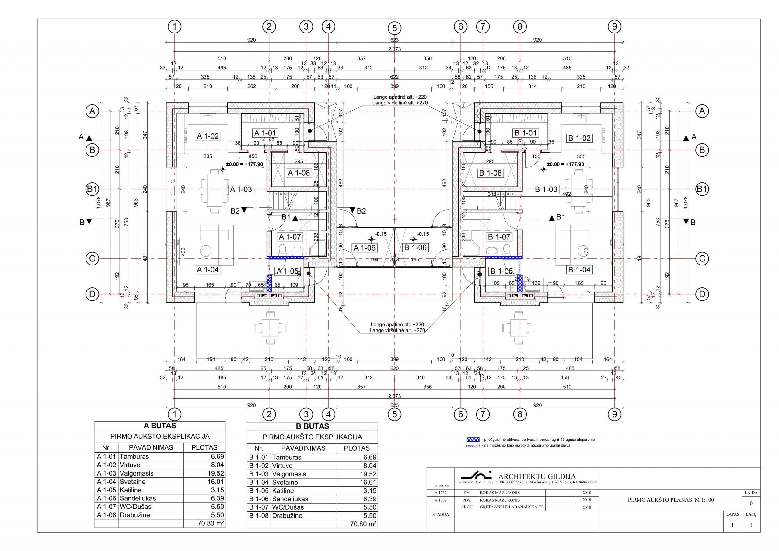 Dvibučio gyvenamojo namo projektas planai