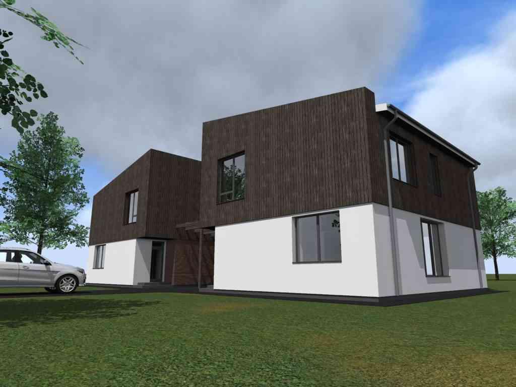 Dvibučio namo projektas. Su stogine.