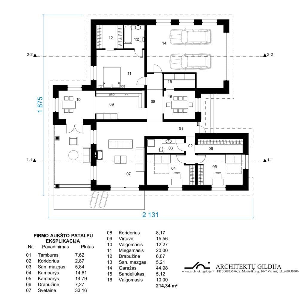 Amerikietiško vieno aukšto gyvenamojo namo projektas.