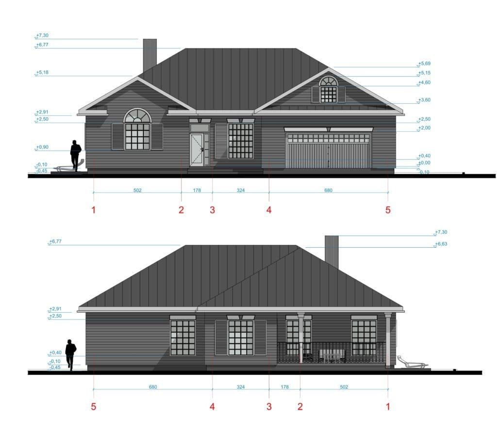 Amerikietiško stiliaus namo fasadai.