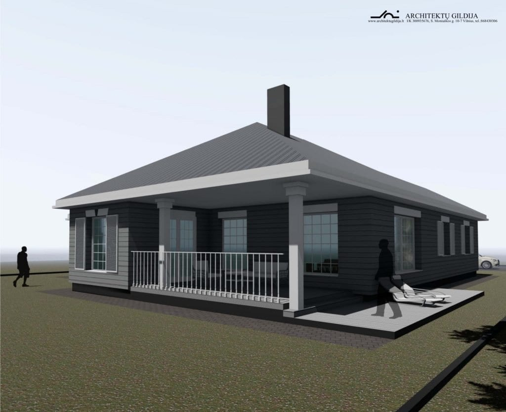 Amerikietiško stiliaus namo projektas.
