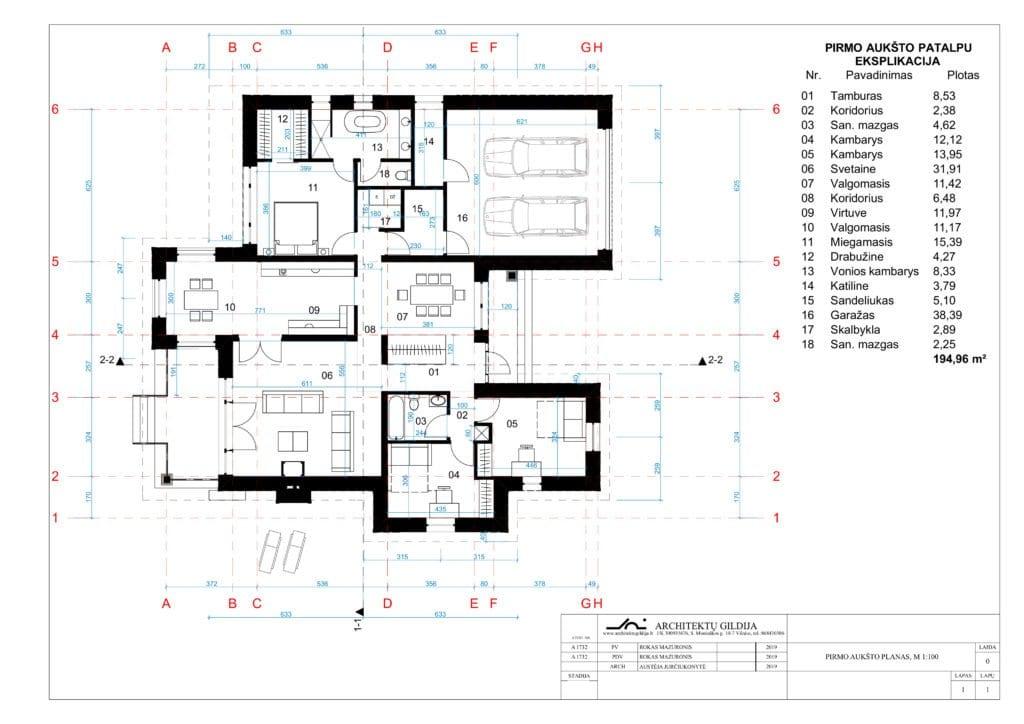 Amerikietiško stiliaus vienbučio gyvenamojo namo projektas. Pirmo aukšto planas.