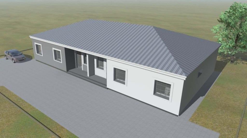 Dvibučio gyvenamojo namo vizualizacija.