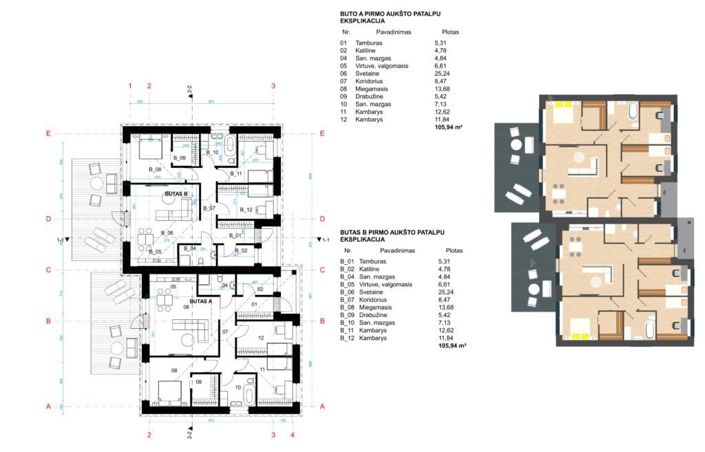 Vieno aukšo dvibučio gyvenamojo namo planai.