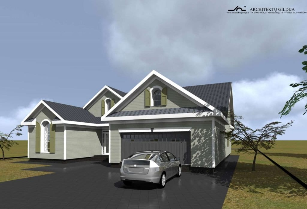 Amerikietiško stiliaus vienbučio gyvenamojo namo projektas.