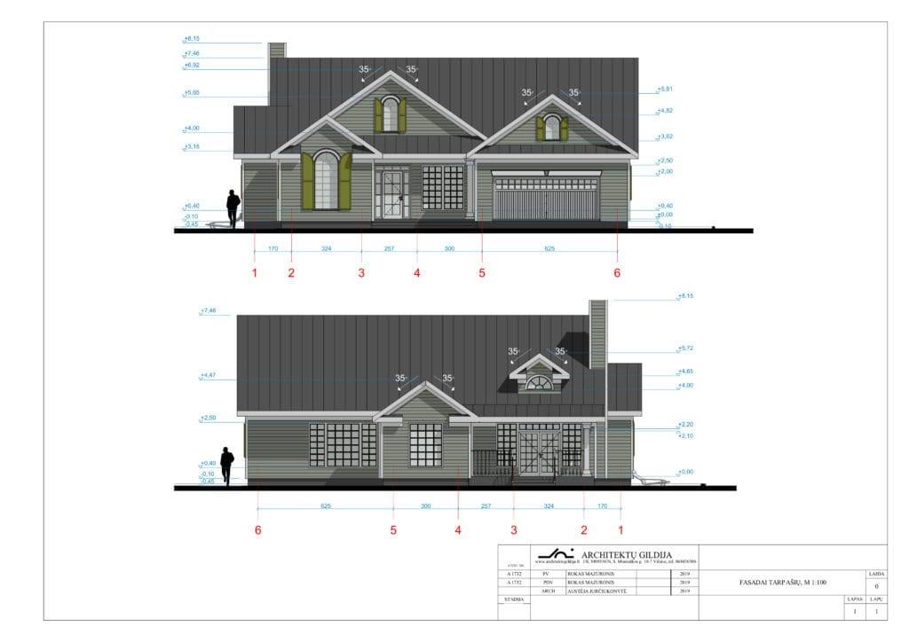 Amerikietiško stiliaus vienbučio gyvenamojo namo projektas. Fasadai.