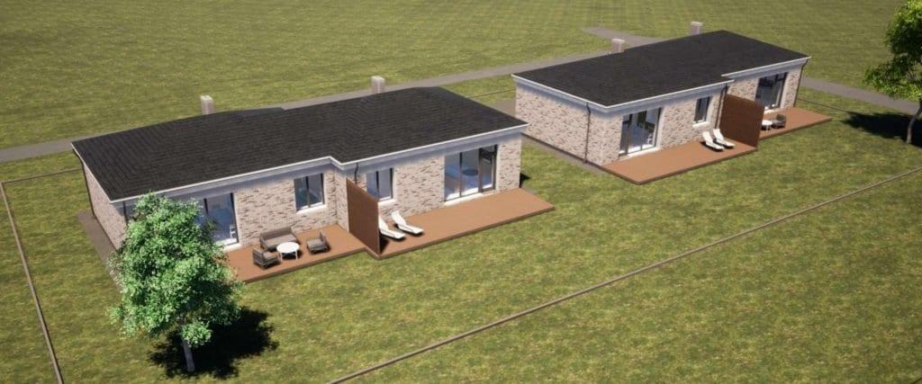Dviejų namų projektai viename sklype. Vizualizacija.