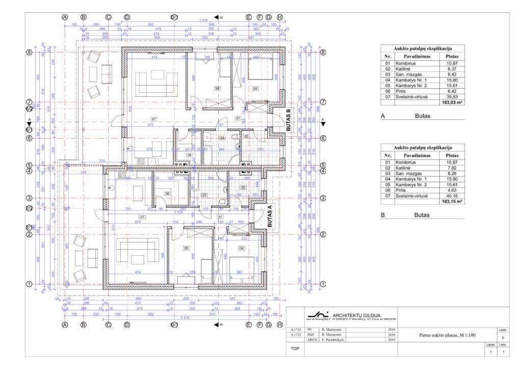 Vieno aukšto dvibučio namo projekto planas,