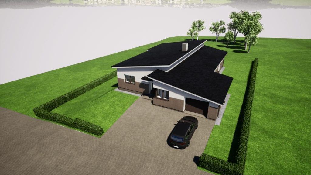 Vieno aukšo gyvenamojo namo privažiavimo vizualizacija.