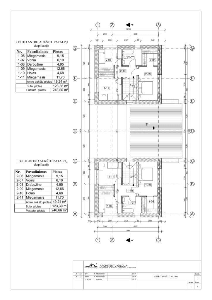 Dvibučio gyvenamojo namo antro aukšo planas
