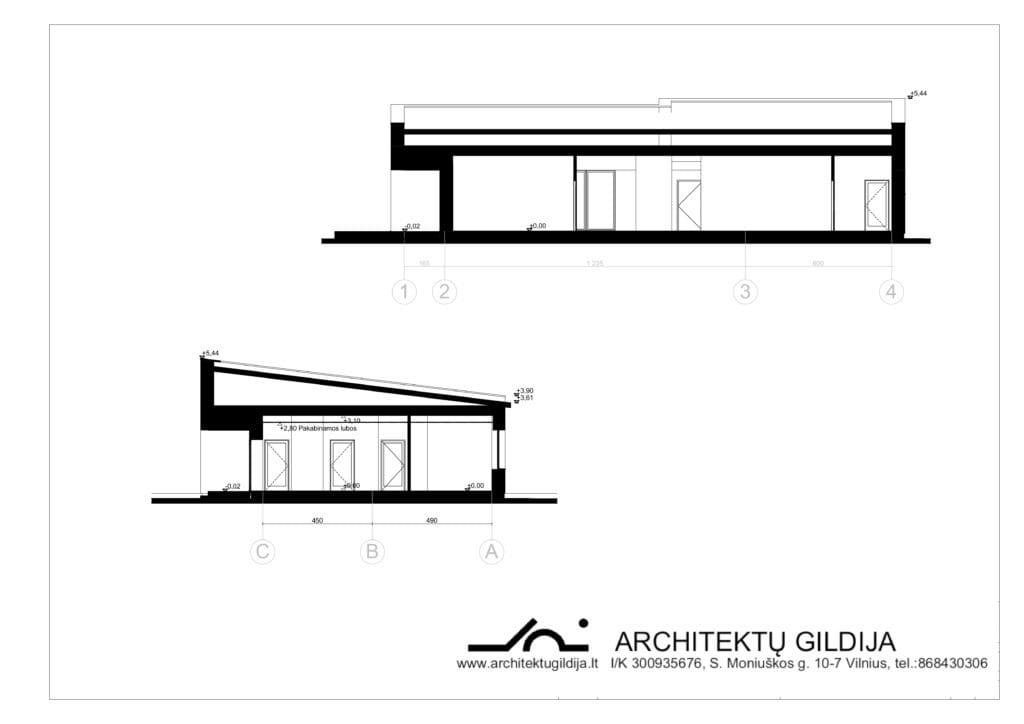 Modernus, vienbučio gyvenamojo namo projektas ID 048. Vienas aukštas. Bendras plotas: 188 m² ; 3 miegamieji ; gabaritai 22 m x 12 m.