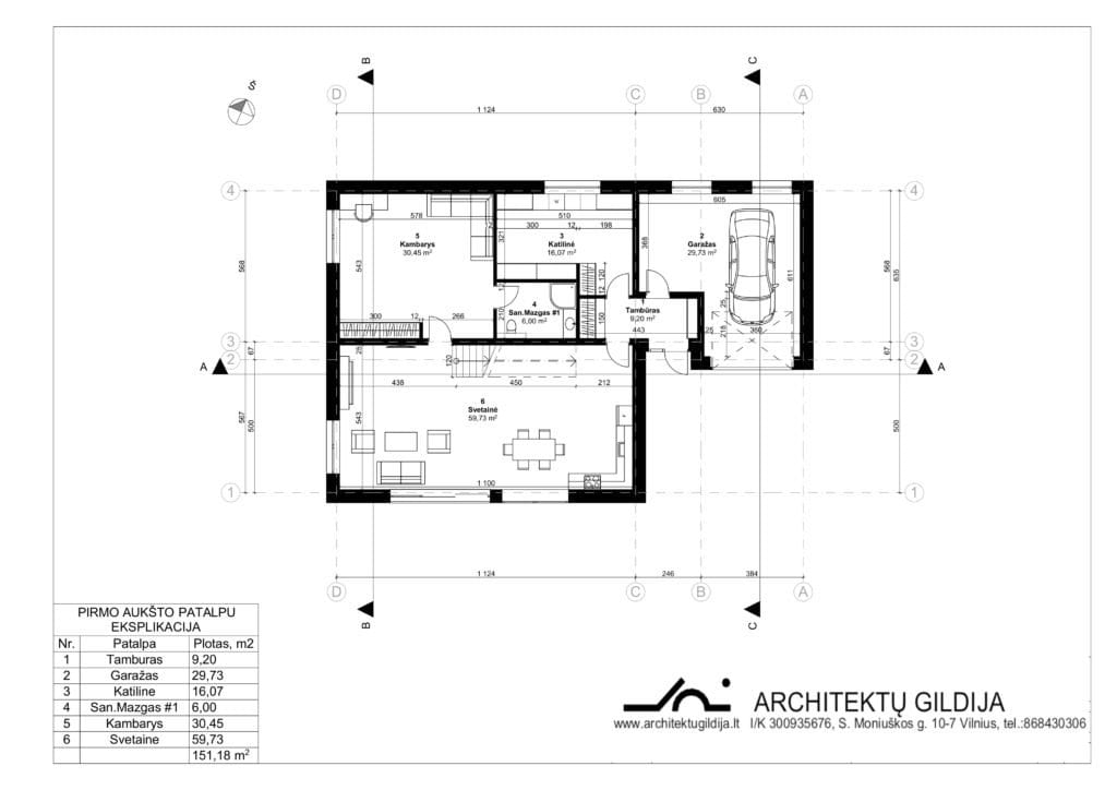Dviejų aukštų gyvenamojo namo projektas su gražu. Aukšto planas.
