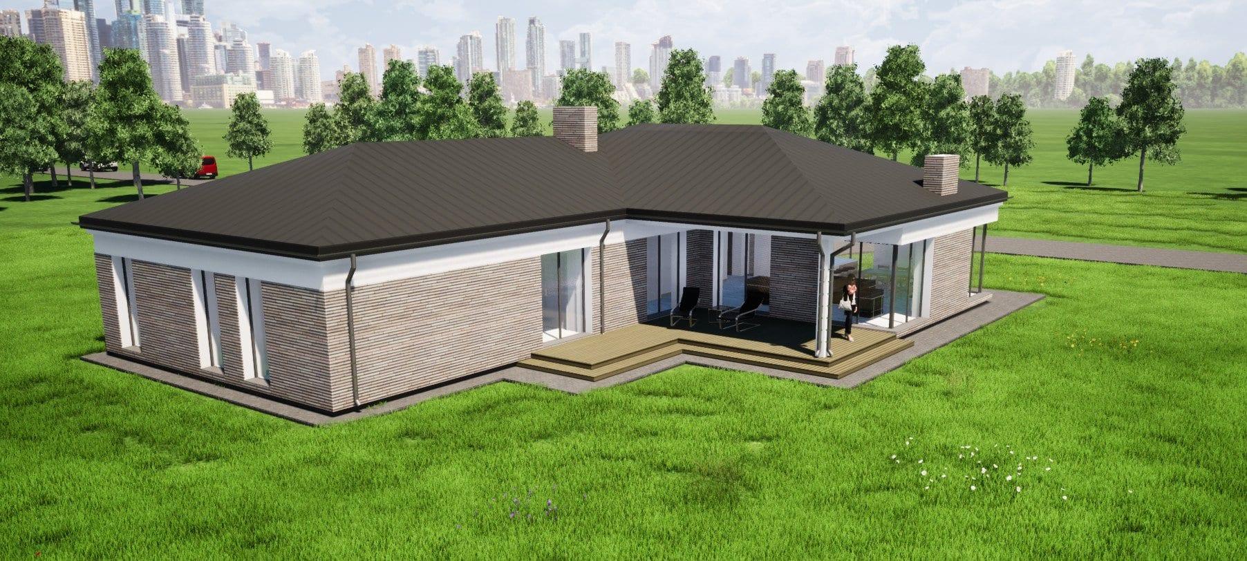 pastato vaizdas L formos namo projektas
