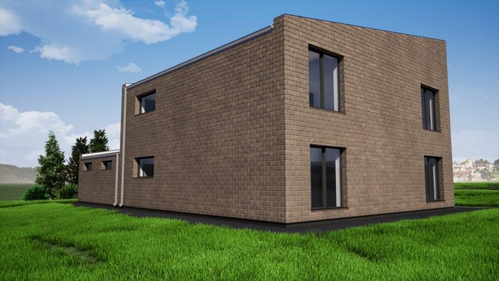 Dviejų aukštų gyvenamojo namo projektas su gražu. Vizualizacija.