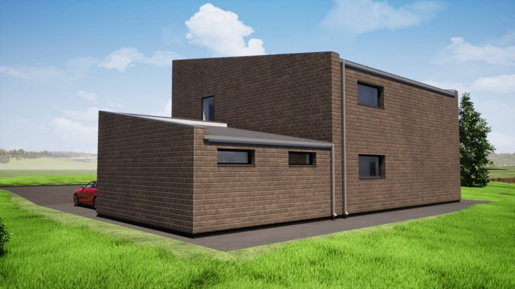 Dviejų aukštų gyvenamojo namo projektas su gražu. Kiemo vizualizacija.