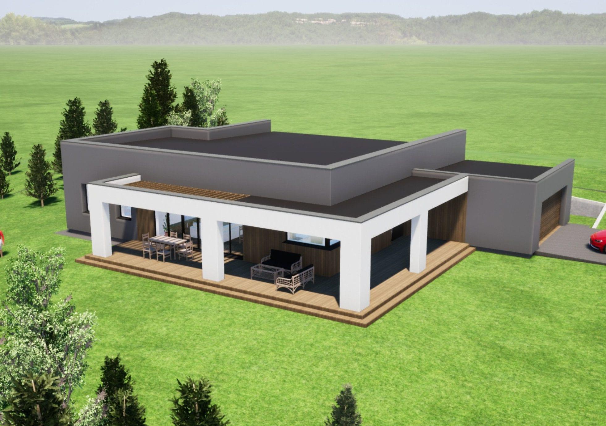 Modernaus vieno aukšto gyvenamojo namo projektas. ID 055