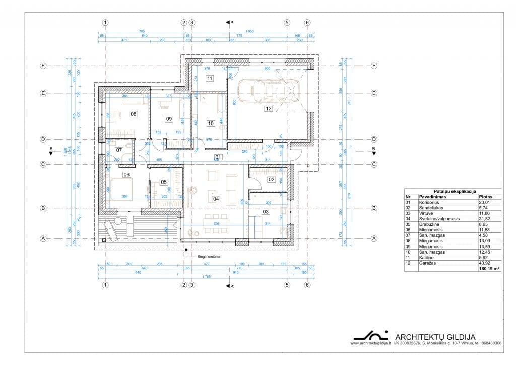 Vienbučio vieno aukšto keturšlaičio namo projektas